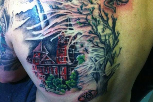 PHOTO: Auburn Grad Gets Giant Back Tattoo of Toomer's Corner