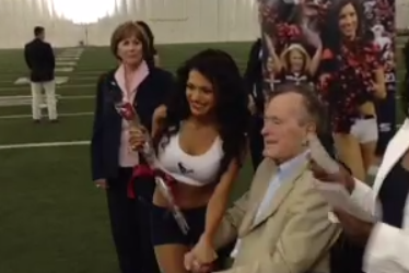 President George HW Bush Hands out Roses to HOU Cheerleaders