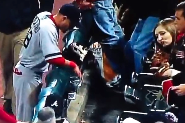 Shane Victorino Steals Some Peanuts from a Fan