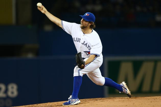 R.A. Dickey Leaves Start with Neck and Back Stiffness