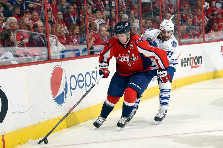 Caps' Backstrom Leaves Game After Being Struck by Green Shot