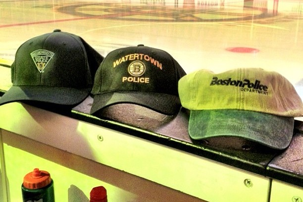 Bruins to Warmup in Mass. State Police, BPD and Watertown PD Caps
