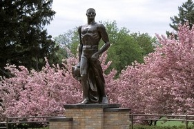 Spartan Statue Vandalized with Colors, Block 'M' of Archrival Wolverines