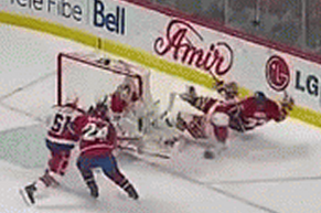 Braden Holtby Cross-Checks Travis Moen into the Air