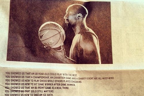 Nike Honors Los Angeles Lakers' Kobe Bryant with News Spread