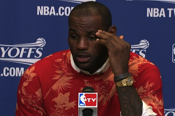 LeBron James Gave His Postgame Interview in the Most Awful, Amazing Sweater Ever