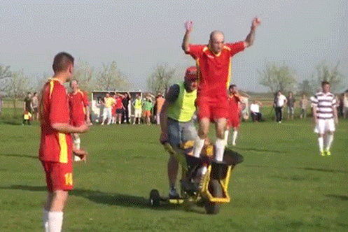 Only in Romania: Injured Soccer Players Are Carted off on Motorized Wheelbarrows