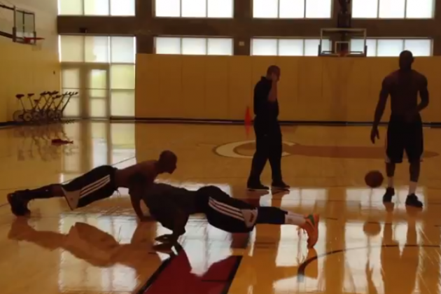 LeBron James Makes His Teammates Do Pushups
