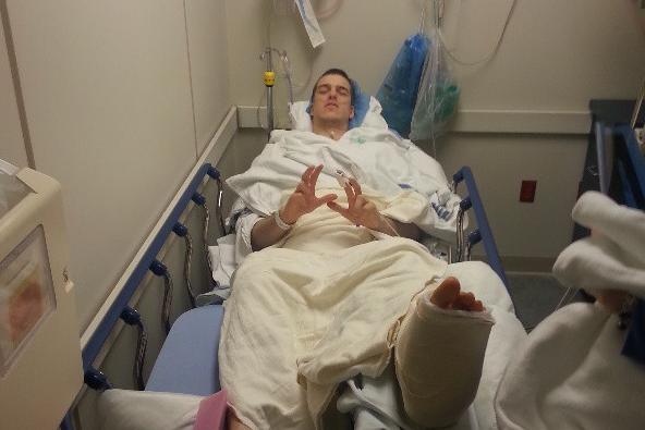 Mason Instagrams Marshall in the Hospital