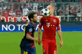 Jordi Alba Throws the Ball in Arjen Robben's Face