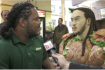 NFL Draft Prospect Jarvis Jones Gets a Human Sandwich Statue