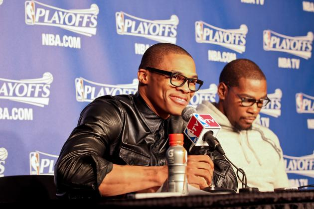 Russell Westbrook's Fashion Once Again Steals Show with Leather Shirt at Presser