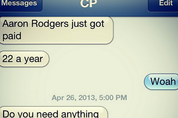 Ponder's Reaction to Rodgers' Contract Extension Via Text
