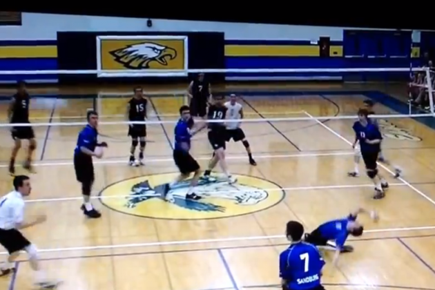 Volleyball Player Takes Spike To The Face
