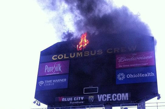 Photo: Crew Scoreboard Catches on Fire