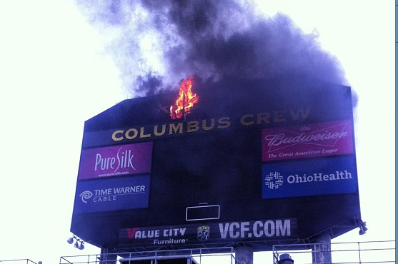 The Columbus Crew Stadium Scoreboard Caught on Fire Before Match