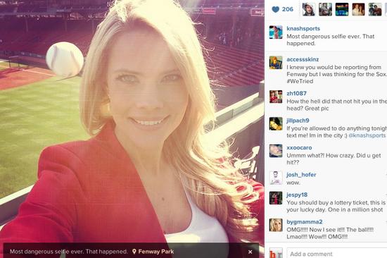 Tampa Bay Rays' Sideline Reporter's Selfie Captures Baseball Photobomb