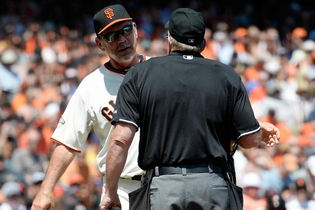 Bochy Ejected vs. D-Backs for Arguing Call at 1st Base