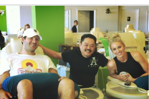 Tony Romo and Wife Get Mani-Pedi's Together