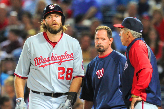 Washington Nationals: Jayson Werth Dealing with Hamstring Issue, Bruised Ankle