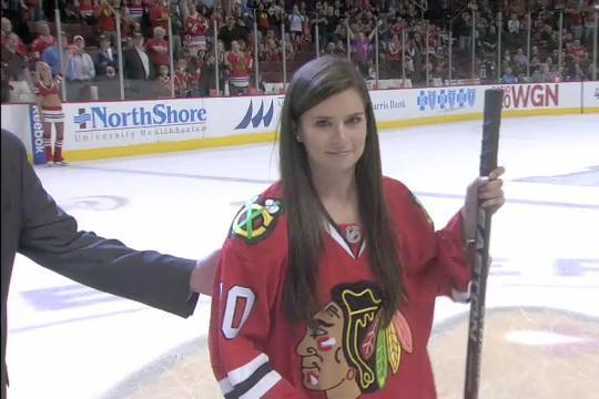 Danica Patrick Shows She Can Swing a Hockey Stick Pretty Well