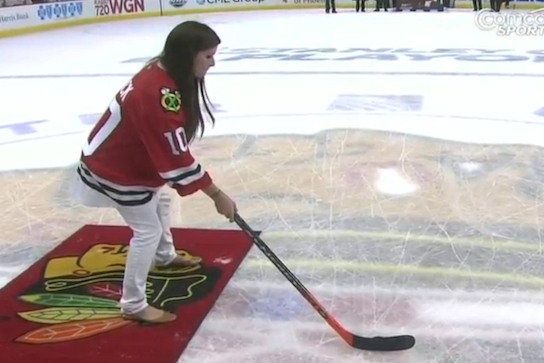 "Danica Shoots and Scores During the Blackhawks' ""Shoot the Puck"""