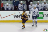 Brad Marchand Appears to Get Speared in Groin by James van Riemsdyk