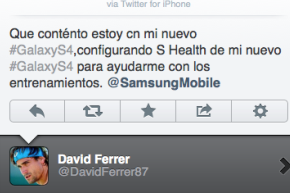 David Ferrer Loves the GalaxyS4, Says so from His IPhone TwitterApp
