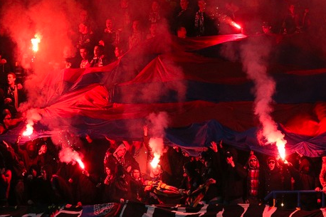Image: Basel Fans Pull out Major Pyrotechnics