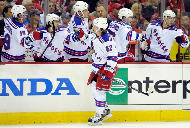 Hagelin earlier in the game, putting the Rangers up 1-0. The Capitals scored the next three goals in a row.