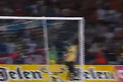 Goalie Watches Free Kick Fly Past Him into Goal