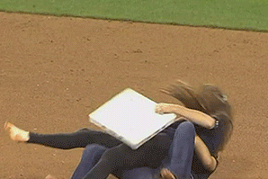 Girls Fight over Second Base at Padres Game, Keep Smiling the Entire Time