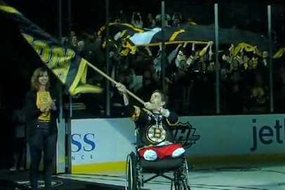 VIDEO: Bombing Victim Jeff Bauman Leads Cheers Before Bruins Game