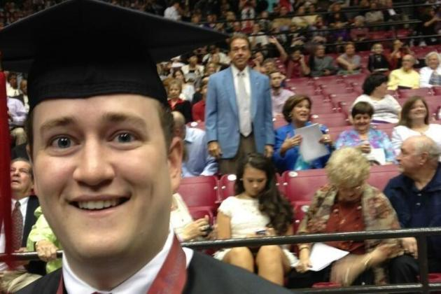 Saban Photobombs 'Bama Graduates