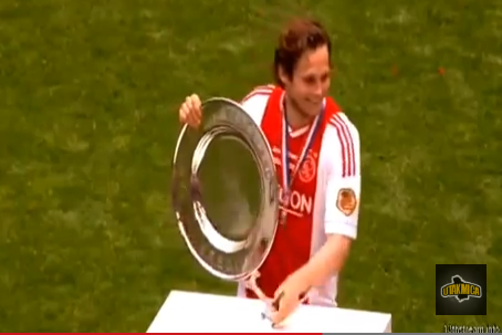Ajax Player Knocks Over Trophy