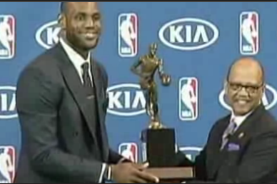 LeBron James Accepts Fourth MVP Award, Praises Miami Heat Teammates