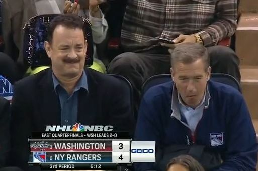 Tom Hanks and Brian Williams Watch Caps-Rangers