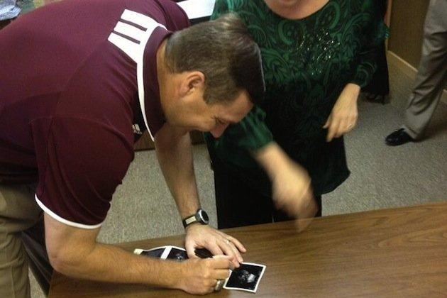 Mississippi State Coach Dan Mullen Signs an Ultrasound