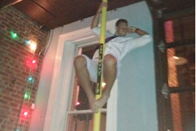 Owen Daniels Climbs Fire Pole at Louisville Bar Derby Party