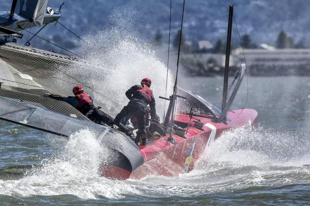 Swedish Racing Boat Capsizes During America's Cup Training