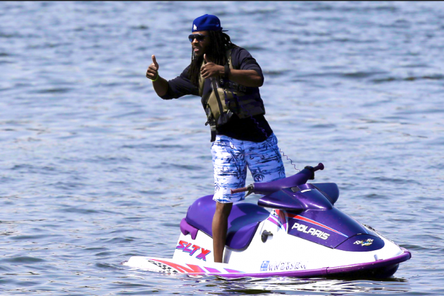 Sherman Spies on Rookies Via Jet Ski