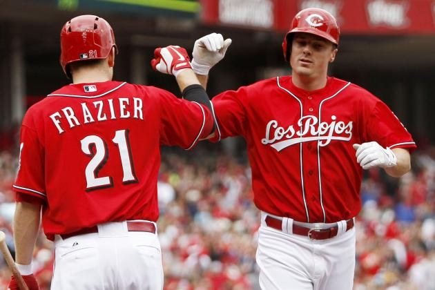 Bruce Homers, Doubles Twice in Reds' Victory