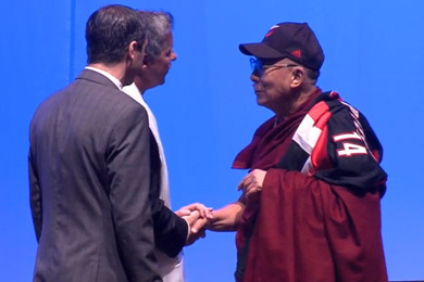 Portland Trail Blazers Front Office Presents Dalai Lama with Fresh Blazers Gear