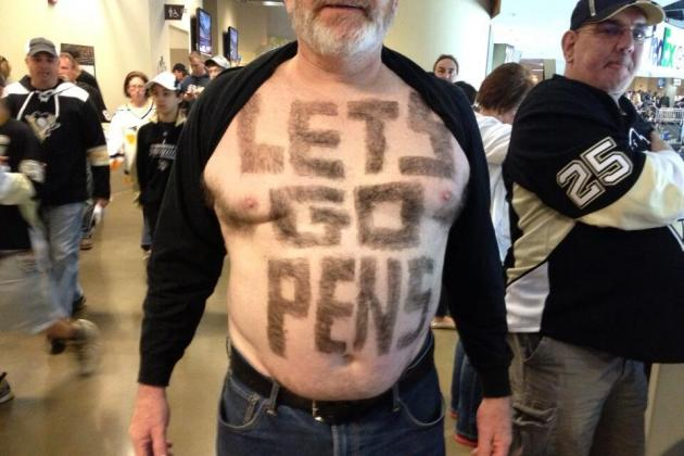 Penguins Fan Sculpts a Sign from His Own Body Hair