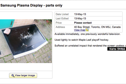 Leafs Fan Puts Broken TV Up for Sale After Game 7 Loss