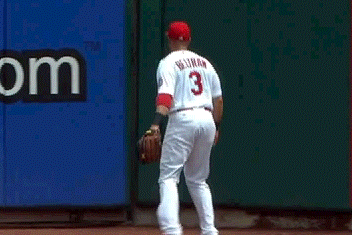 Daniel Murphy Hits a Ball Through the Busch Stadium Wall