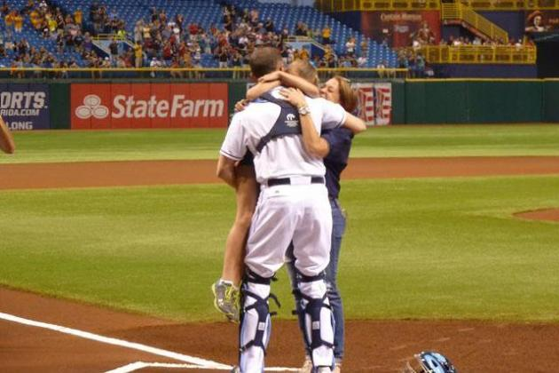 Alayna Adams Surprised by Father After Throwing Tampa Bay Rays' First Pitch