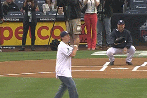 Manziel Threw out the 1st Pitch at the Padres-Nats Game in Interesting Fashion