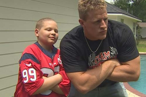 Texans Star J.J. Watt Surprises 12-Year-Old Leukemia Patient as Only He Can