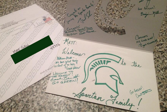 Photo: Michigan State Coaches Send Welcome Letter to Recent Commit